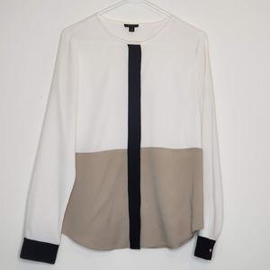 Ann Taylor color block buttondown blouse